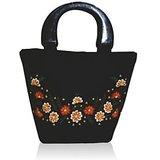 Floral Black Embroidered Silk Handbag