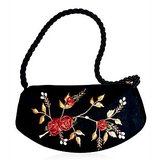 Black Embroidered Designer Silk Handbag