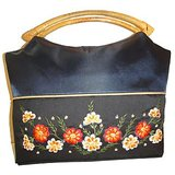 Navy Floral Design Silk Handbag