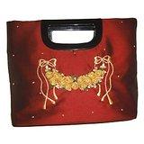 Red Trendy Designer Silk Handbag
