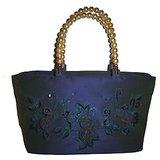 Royal Blue Self Thread Work Silk Handbag