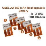 Osel AA 850 MAh Rechargeable Battery ( Pack Of  5 ) Total 10 Batteries