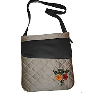 Trendy Grey Silk Sling Bag With Contrasting Black Leather Flap