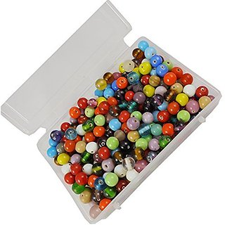 eshoppee handmade 8mm round assorted colors glass beads for jewellery making and home decoration 200 gm