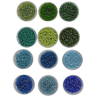 e2be22de1 eshoppee 8/0 Seed beads for jewelery making Set of 12 Colours 20Gm X 12