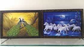 Photoframe of Running Horse and Peacock in oil painting