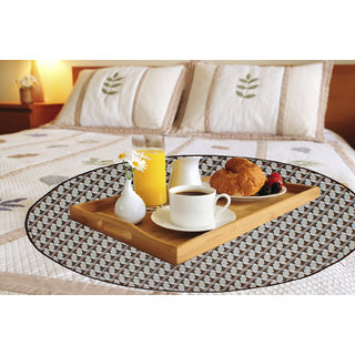 Glassiano Geomatric Brown Printed waterproof and oilproof Round bed serving mat