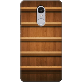 Redmi Note 4 Printed Back Case Cover - Wooden Panel Shelves Design
