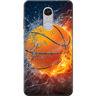 Redmi Note 4 Printed Back Case Cover - basktball with fire Design