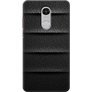 Redmi Note 4 Printed Back Case Cover - Black Leather Design