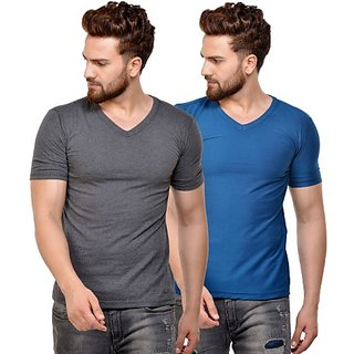 JSCK Cotton V-Neck Half Sleeve Multicolor Solid T-Shirt - Pack of 2