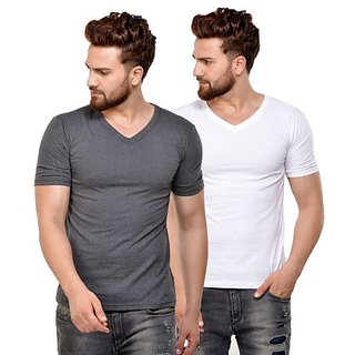JSCK Cotton V-Neck Half Sleeve Multicolor Solid T-Shirt - Pack of 2