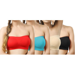 Hothy Wirefree  Strapless Multicolor Tube Bra (Pack Of 4)