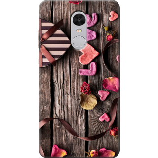 Redmi Note 4 Printed Back Case Cover - Hearts Wood Panel Design