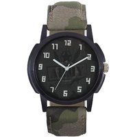 Army Dial Leather Strap Stylish Analog Watch - For Men