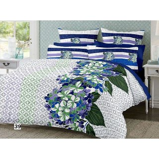Casa Confort Mix N Match Queen Size Cotton White & Blue Bed Sheet 90X100 Inch ( With 2 Pillow Cover 17x27 Inch )