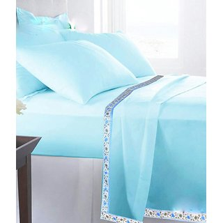 Casa Confort Cotton Plain Sky Blue Bed Sheet 60X100 Inch ( With 1 Pillow  Cover 17x27 Inch )