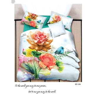 Casa Confort Sun Shine Figure White Queen Size  Bed Sheet 90X100 Inch ( With 2 Pillow Cover 17x27 Inch )