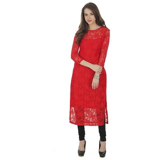 Shree Wow Women's Red Self Design Crepe Stitched Kurti