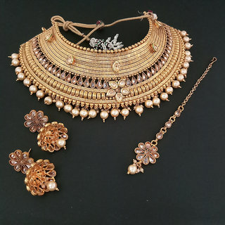 JewelMaze Gold Plated Gold Brass & Copper Necklace Set For Women