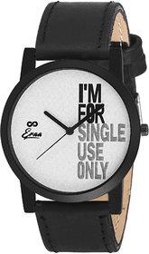 Eraa White  Black Slim Analog Wrist Watch For Men