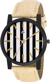 Eraa White & Black Stripes Analog Wrist Watch For Men