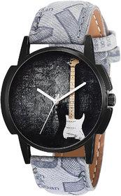 Eraa Grey Strap Guitar Analog Wrist Watch For Men