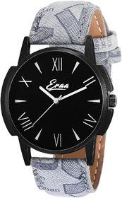 Eraa Grey Strap Black Roman Analog Wrist Watch For Men