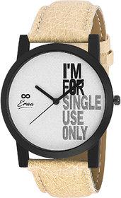 Eraa Beige & White Analog Wrist Watch For Men
