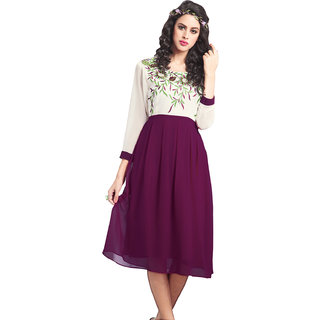 Swaron Maroon Colored Georgette Embroidered Party Wear Flared Stitched Kurti