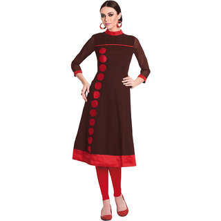 Swaron Brown Colored georgette Lace Party Wear Flared Stitched Kurti