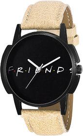 Eraa Beige Friends Black Analog Wrist Watch For Men
