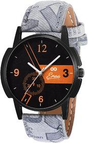 Eraa Grey & Orange Analog Wrist Watch For Men