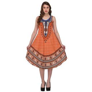 Nakoda Creation Women's Rayon Block Print Anarkali Midi Dress,Orange(Fit to All-S_M_L_XL_XXL)