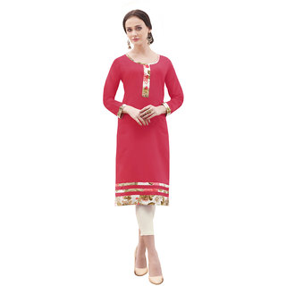 Swaron Red Colored Cotton Solid Casual Wear Straight Stitched Kurti