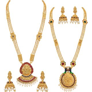 Asmitta Delightly Long Haram Gold plated Opera Style Laxmi Design Set of 2 Necklace Set For Women