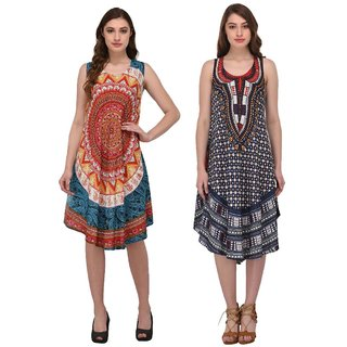 Nakoda Creation Pack of 2 Rayon Multicolor Umbrella Cut Midi Dress For Women (Free Size-Fit to All-S_M_L_XL_XXL)