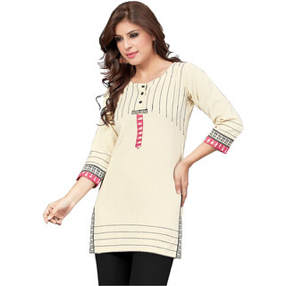 Swaron Beige Colored Khadi Cotton Printed Casual Wear Straight Stitched Kurti