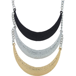 The Jewelbox Oxidised German Silver Black Gold Layered Statement Necklace for Girls Women