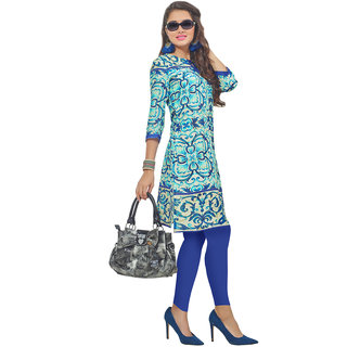 Swaron Turquoise Colored Rayon Digital Printed Office Wear Straight Stitched Kurti