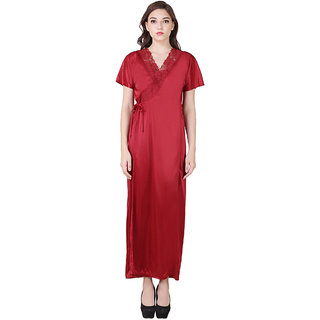 RAJAN  TRADERS Maroon Satin Lace Wraps  Robes