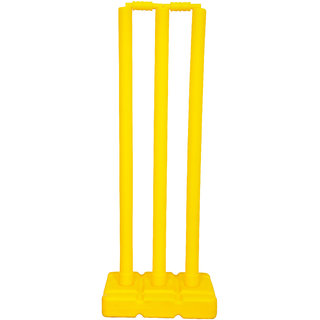 Grazzo Kids Fun Cricket Wickets 32 Inch Kids Training Fun Yellow 6 piece Cricket Set With Net Bag