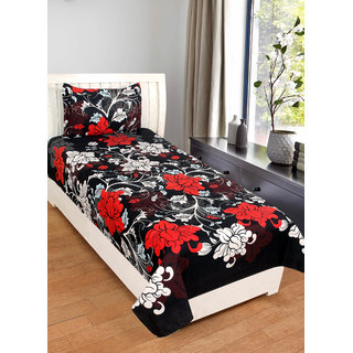 BSB Trendz Indian 3D Printed Single Bedsheet With 1 Pillow Cover