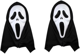 Holi Halloween Costume Party Long Face  Ghost Scary Scream Mask Face for fun in Holi ( set of 2)