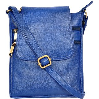 A-One HHCSB02 Royal Blue Colored Genuine Leather Sling Bag