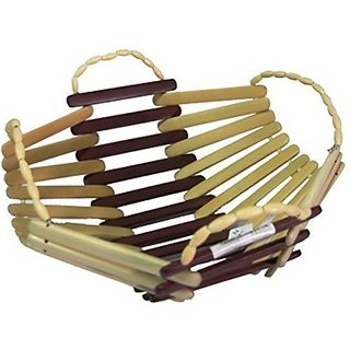 CRAFT KINGS/Wooden Bamboo Fruit Vegetable Basket With Handle Pack Of 2