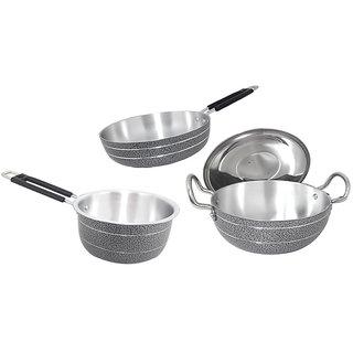 Aluminium Cookware set (kadhai with lid 4litters , saucepan 1.8litters ,frypan )
