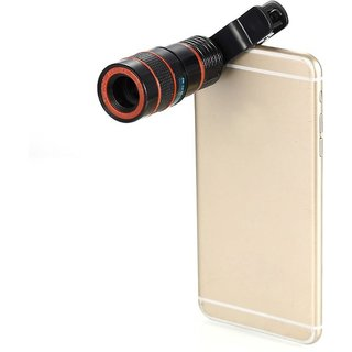 ZEVORA 8X Zoom Lens Telescope Universal Camera Lens - Black