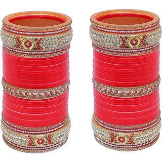 Lucky Jewellery Red Designer  Bridal Wedding Choora Fashion Punjabi Chura Stone Chuda Set