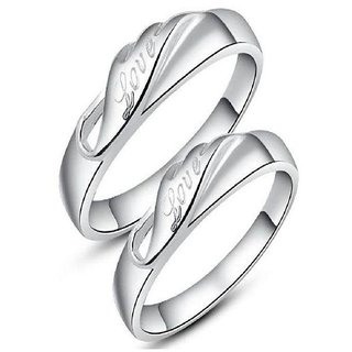 SILVERISH 92.5 Silver Couple Band Platinum Plated Silver Ring Set SCBR69-P